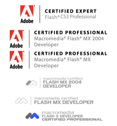 Adobe and Macromedia certified flash logos