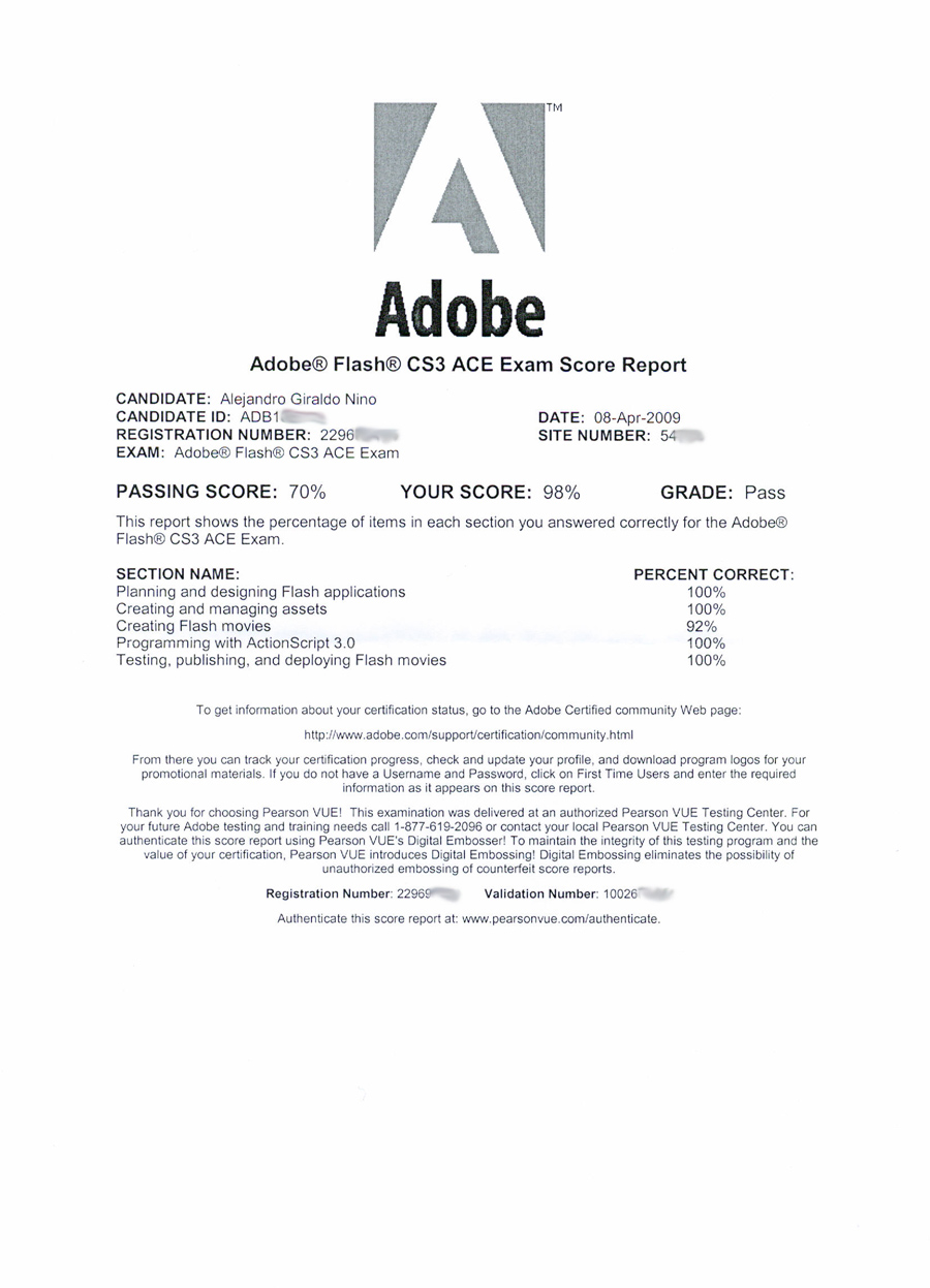 Alex Nino 9A0-058 – Adobe Flash CS3 ACE Exam result